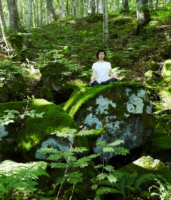 A woman meditating in the forest